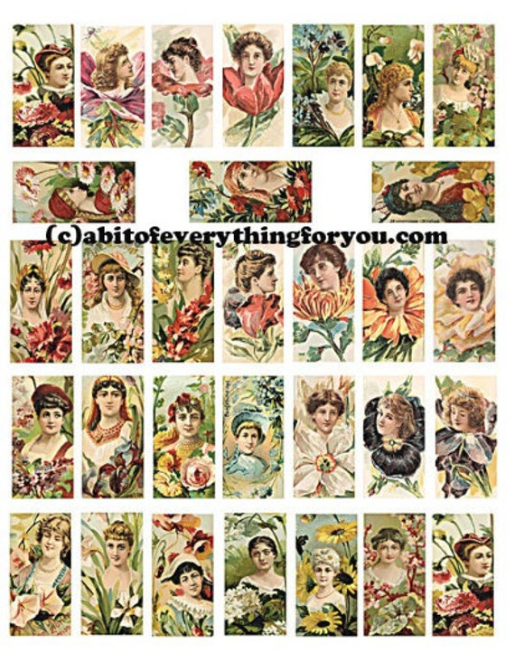 vintage victorian flower girls art domino collage sheet 1 x 2 inch images clip art digital download domino graphics images printables