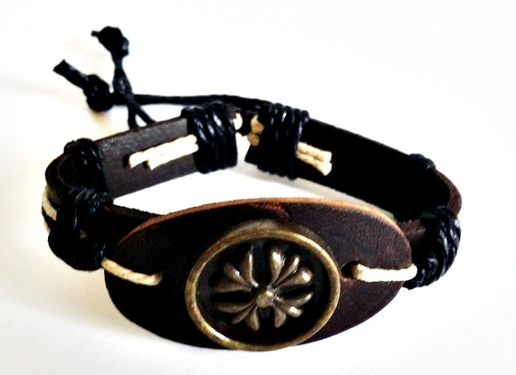 flower brown leather goth cuff bracelet unisex biker punk rock jewelry