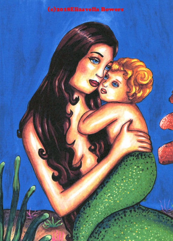 mother and child mermaid art print original fantasy folk sea goddess sea nymph siren original paintings lady madonna