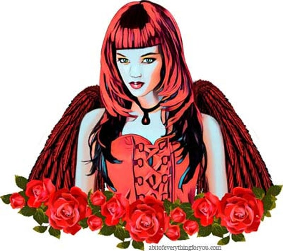 Red Angel Girl Roses flowers Gothic printable art clipart png digital download printable graphics image downloadable