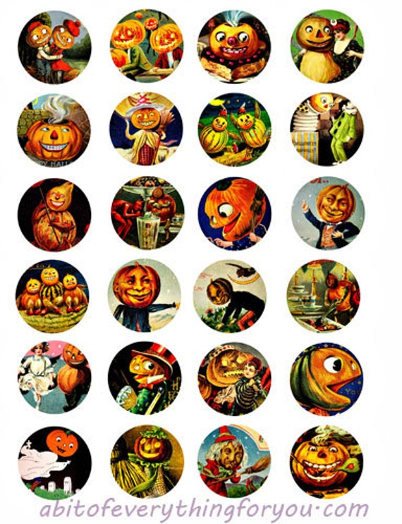 "halloween jacko lantern pumpkins collage sheet clip art digital download 1.5"" inch circles graphics images diy craft printables"