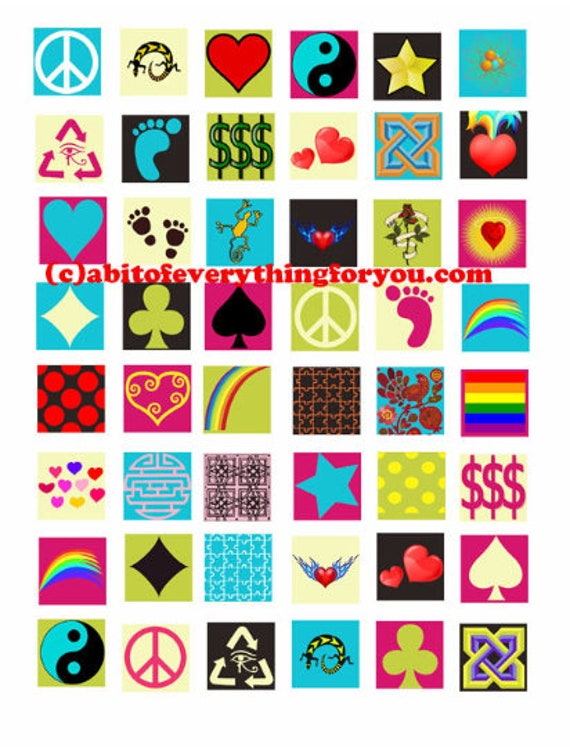 downloadable collage sheets icons shapes symbols clipart download 1 inch squares printable  for pendants magnets, bezel settings