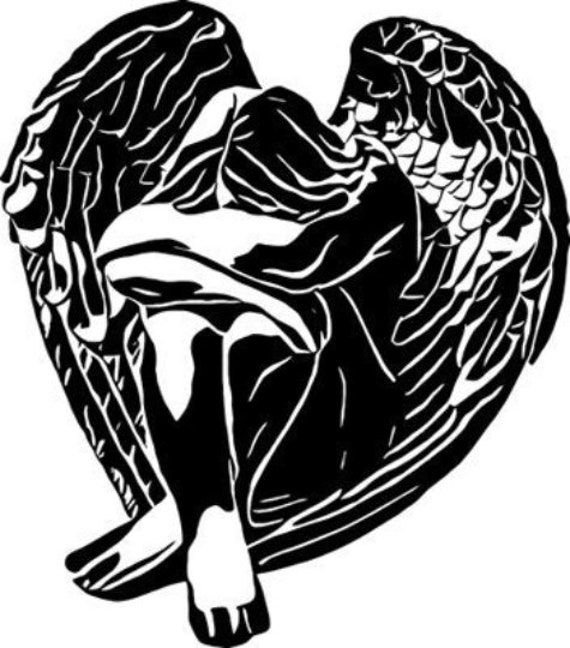 black and white abstract sleeping angel girl printable art clipart png jpg svg vector instant download silhouette digital downloadable image