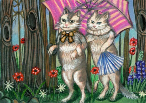 Kitty Cat Courtship original aceo art pencil drawing animal pets miniature small atc artwork