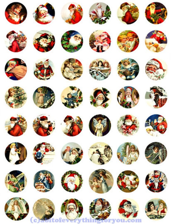 vintage santa angels christmas collage sheet clipart digital download 1 inch inch circles graphics images printables diy jewelry making