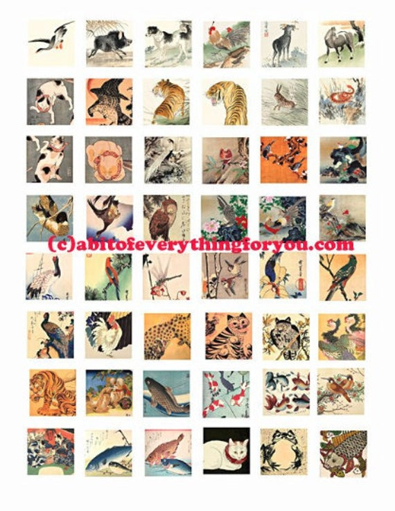 "vintage animal nature paintings art collage sheet digital download 1"" inch squares graphics japanese art images printables pendants bezels"