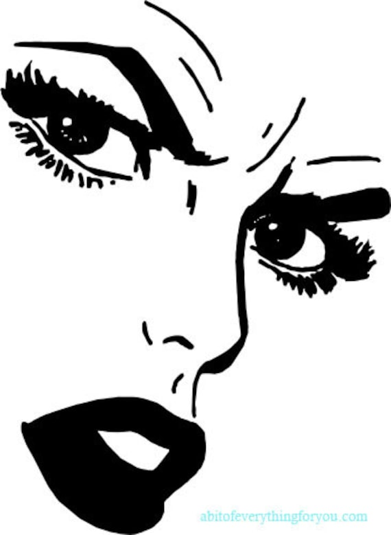mad womans face comics black and white printable art download digital eyes lips image graphics