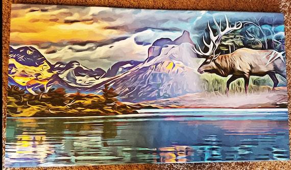 "abstract bull Elk animal spirit Art canvas Print abstract landscape art lake trees surreal nature wildlife artwork 20"" x 36"""