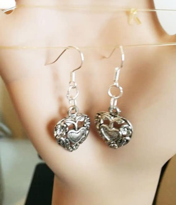 silver filigree heart earrings charm dangles metal handmade heart jewelry