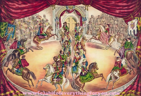 "antique circus horse riders printable wall art poster print digital downloadable pdf vintage image 16.9"" x 24.8"" carnival home decor"