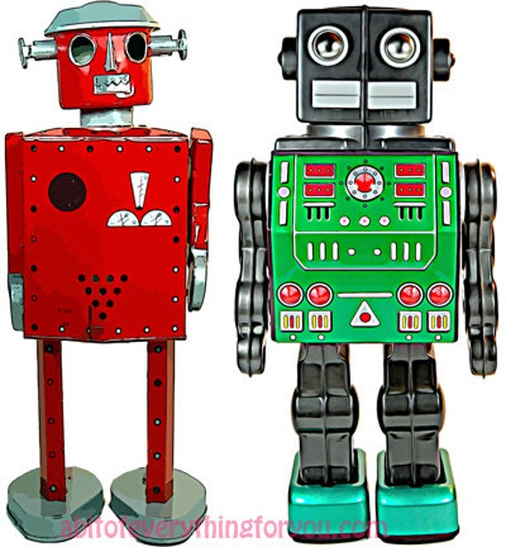 wind up robot toy space man printable art print clipart png download digital image graphics downloadable artwork red green