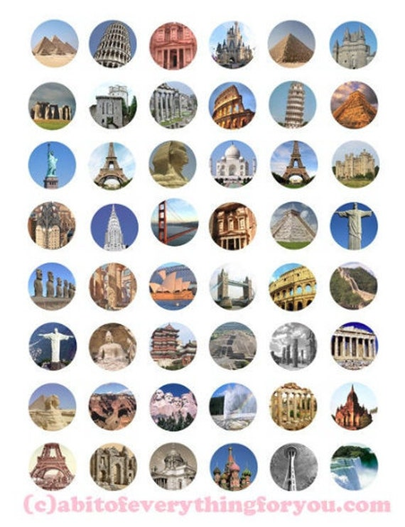 digital download collage sheet printables wonders of the world clipart 1 inch circles architecture DIY jewelry making pendant images