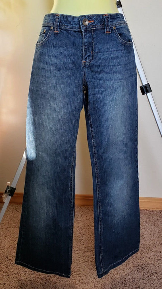 womens jeans pants size 13 stretch denim 31 x 29 zipper pockets blue faded