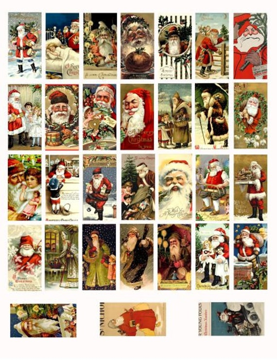 "domino collage sheet vintage santa claus christmas art clipart digital download  1"" x 2"" inch graphics st nick red suit images printables"