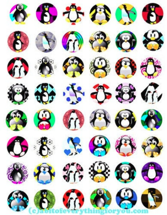 printable digital collage sheet cartoon penguins birds art clipart 1 inch circles animal images printables pendants diy jewelry making