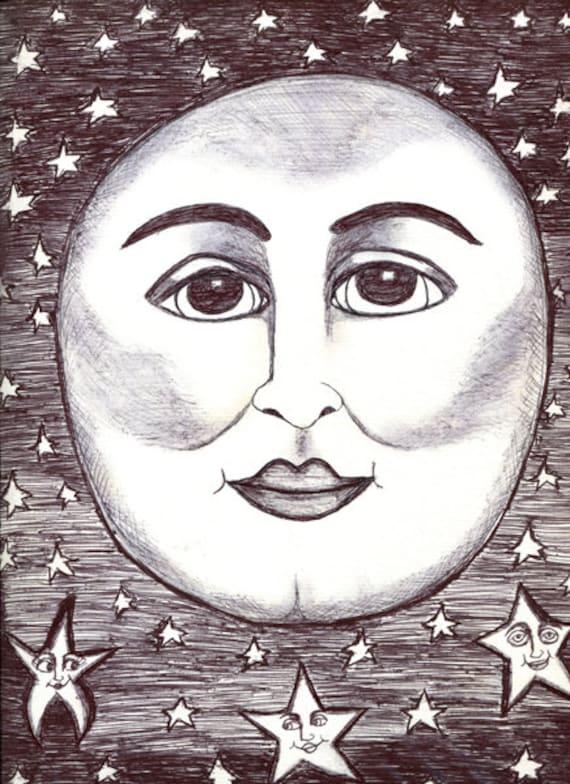 original art drawing happy moon man star faces celestial fantasy fairytale whimsical artwork sold by artist Elizavella