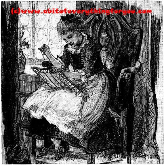 girl sewing needle point printable vintage art clipart png jpg instant download illustrations digital image graphics artwork