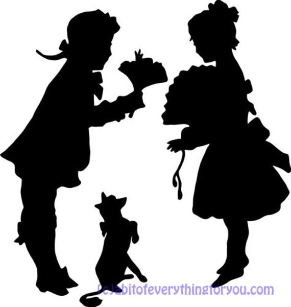 vintage victorian children sweethearts silhouette printable art clipart png digital download  image graphics instant downloadable art