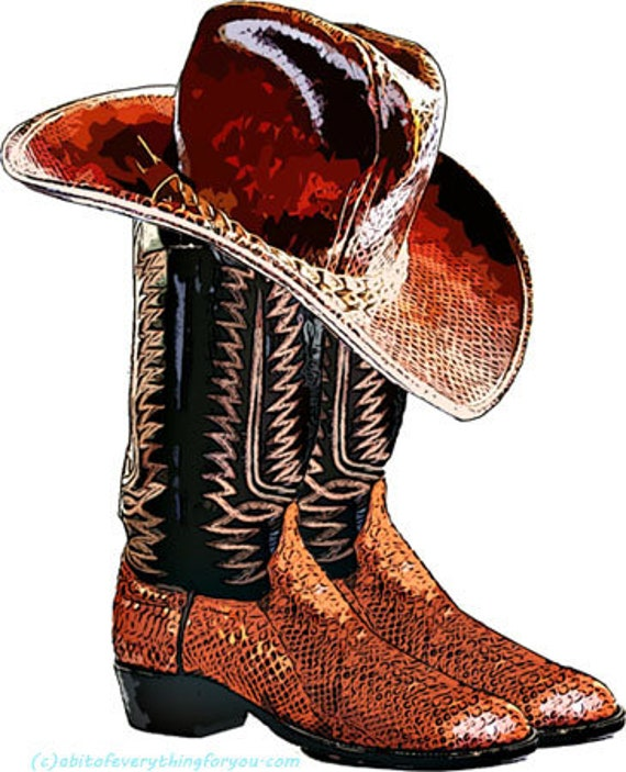 brown cowboy snake skin boots and hat shoe clipart png printable country western fashion art download digital image downloadable graphics