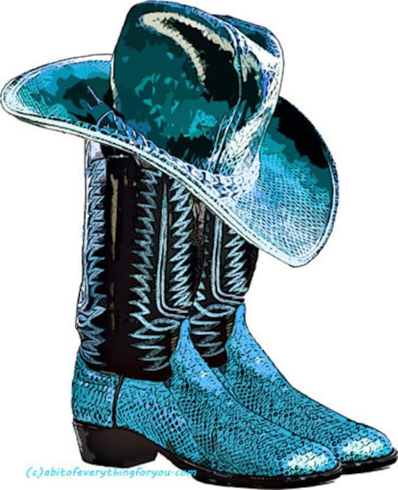 blue cowboy snake skin boots and hat shoe clipart png printable country western fashion art download digital image downloadable graphics