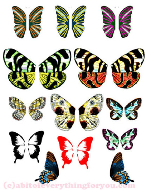 fairy butterfly wings collage printable art images digital download die cuts craft diy paper doll printouts