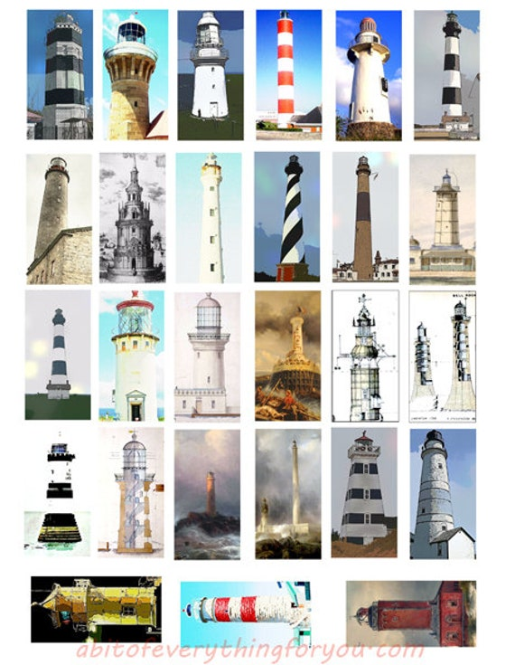 "light house nautical domino collage sheet 1"" x 2"" inch clip art digital download graphics images printables pendants"