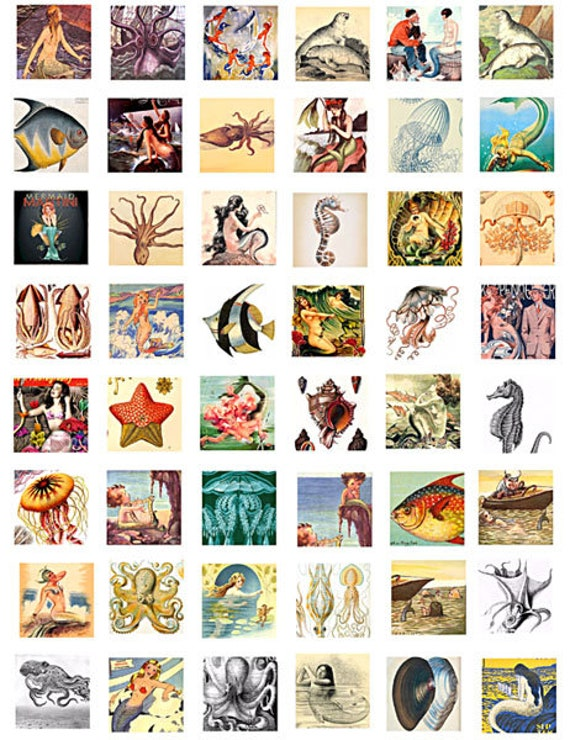 download collage sheet mermaids fish sealife vintage art clip art digital 1 inch squares graphics images craft pendant printable jewelry