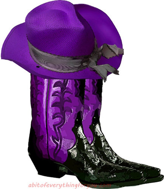 purple cowgirl cowboy boots and hat shoe clipart png printable country western fashion art download digital image downloadable graphics