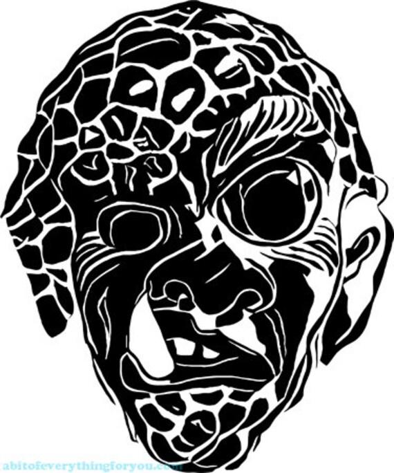 Monster face alien creature drawing printable art print png clipart transparent digital download image graphics downloadable horror