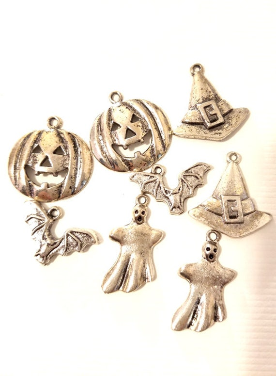 8 silver halloween metal charms pendants 15mm to 25mm pumpkin witch goth jewelry