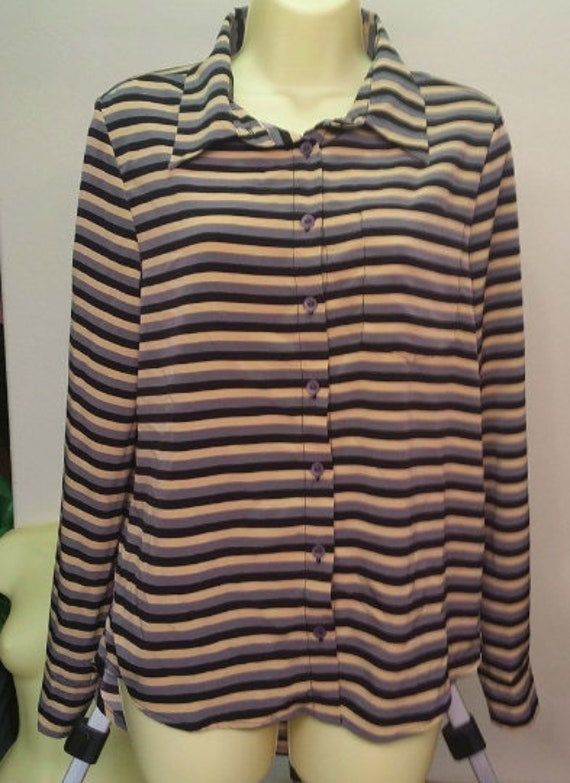 striped button down top womens size small long sleeve multi color shirt late 90s clothing