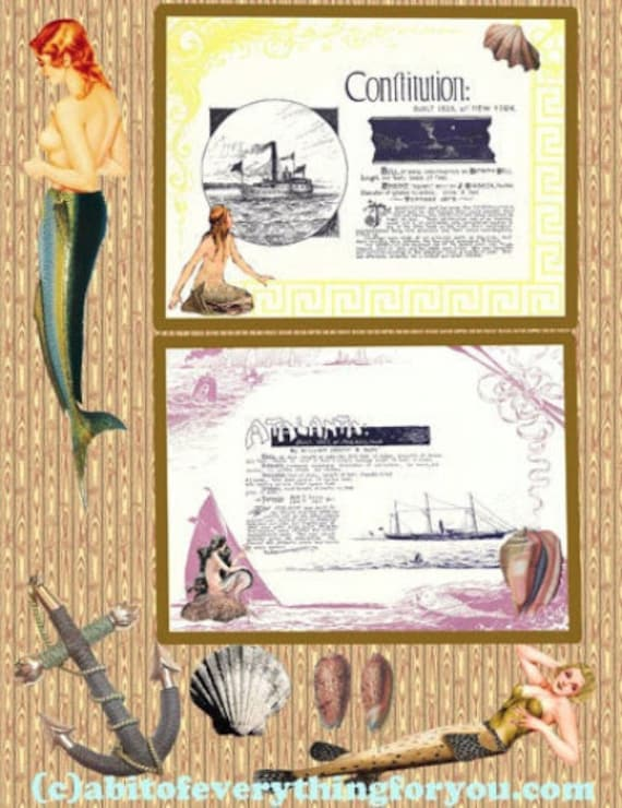 "mermaids sailing ships sealife ocean art printable beach digital downloadable vintage image 8.5"" x 11"" nautical beach home decor"