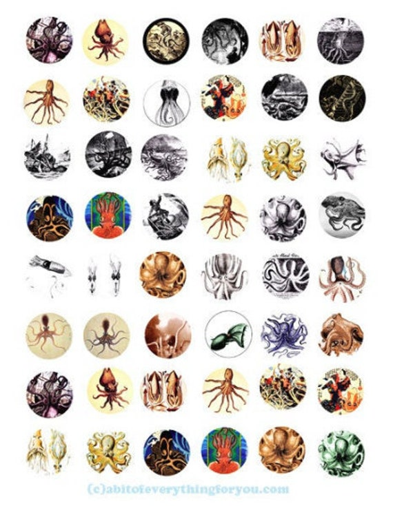 octopus squid printable digital collage sheet downloadable sealife ocean animal clipart 1 inch circles images pendant diy jewelry making