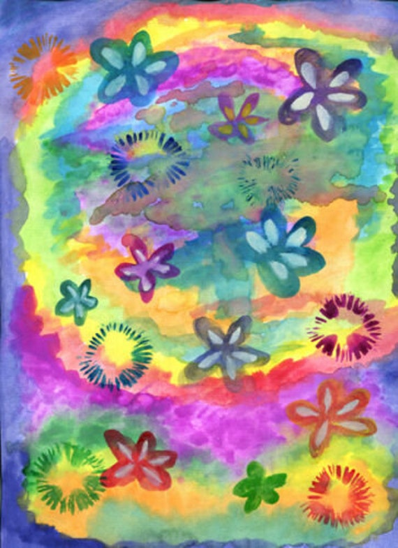 watercolors painting flowers rainbow tie dye original art boho hippie modern artwork
