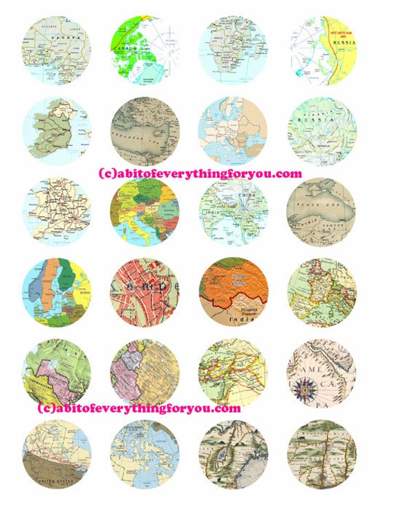 vintage world maps clipart digital download collage sheet 1.5 inch circles vintage images pendant jewelry making printables