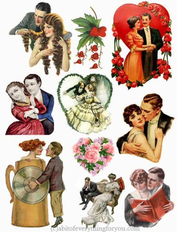 romance  lovers couples vintage printable art print clipart pngdie cuts digital download image graphics cut outs