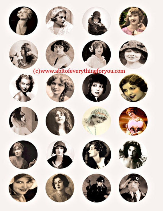 vintage photographs 1800s to 1950s women clip art digital download collage sheet 1.5 inch circles graphics photo images printables pendants