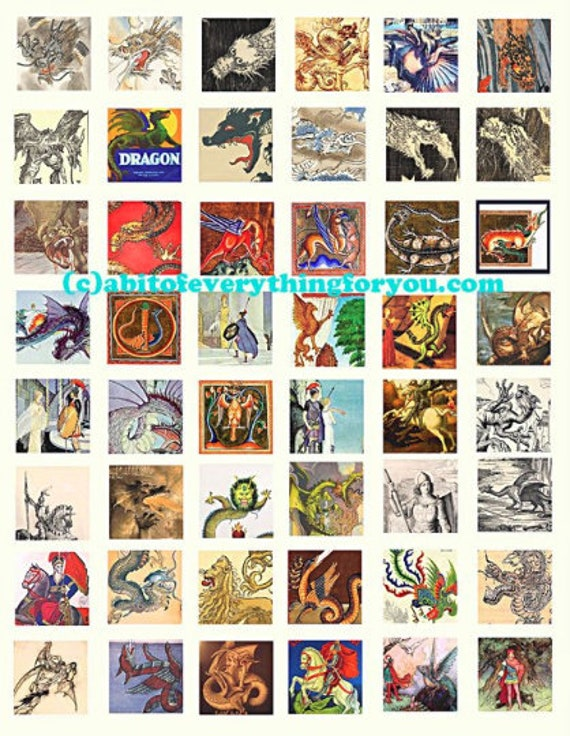 dragons paintings drawings vintage art collage sheet 1 inch squares clip art digital download graphics image printable downloadable fantasy
