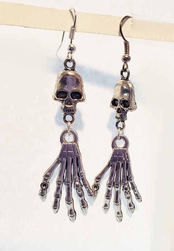 Silver skull  skeleton hand charm earrings dangles handmade goth punk biker jewelry