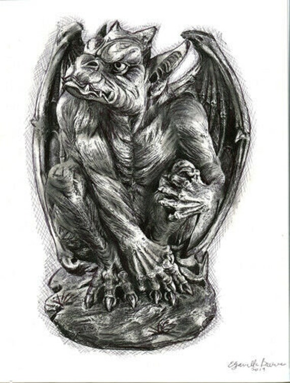 "ORIGINAL gargoyle pen ink drawing ""the wathcher"" fantasy beasts fairytale illustration black and white artwork"