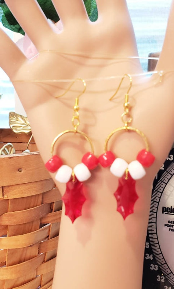 red and white leaf beads hoop earrings plastic christmas jewelry handmade earrings