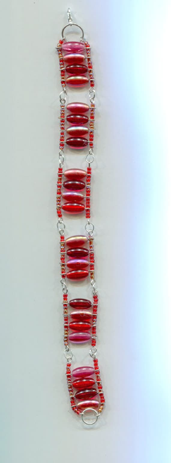 red beaded wire bracelet handmade boho jewelry