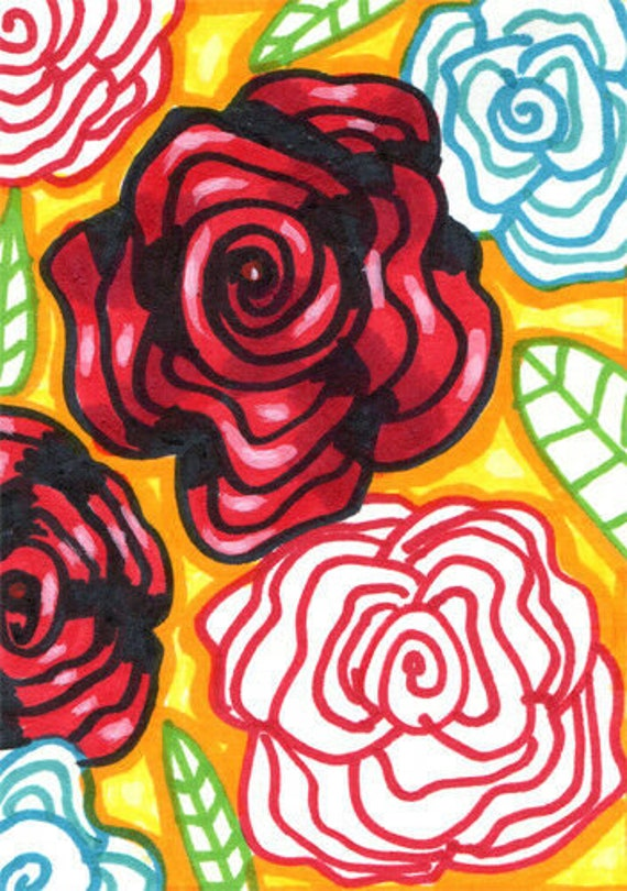 abstract rose flowers drawing aceo original art atc markers ink drawings modern miniature artwork