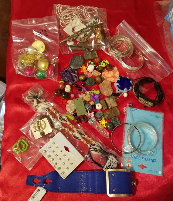 huge lot broken jewelry supplies beads charms jewelry making crafts metal clay stone