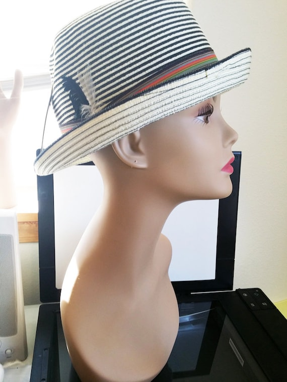 new white black stripes fedora hat womens feather band straw style hair accessories