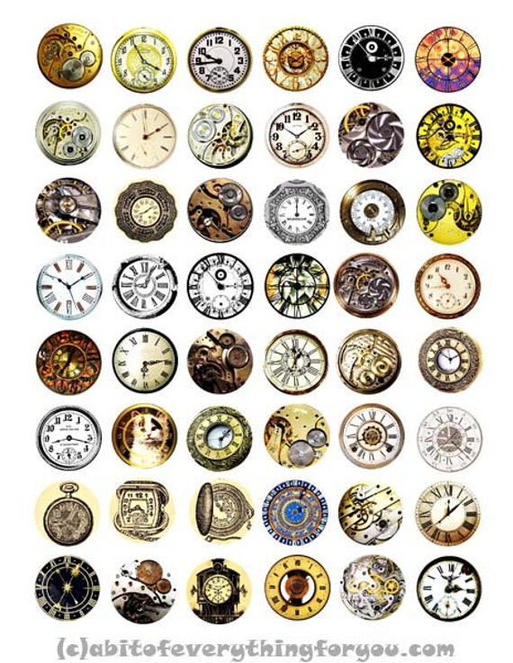 """clock faces parts clipart digital download collage sheet 1"""" inch circles downloadable graphics images pocket watch steampunk printables"""