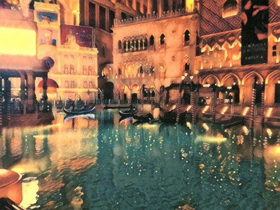a night in Las Vegas abstract painting original art print city buildings gondolas modern artwork
