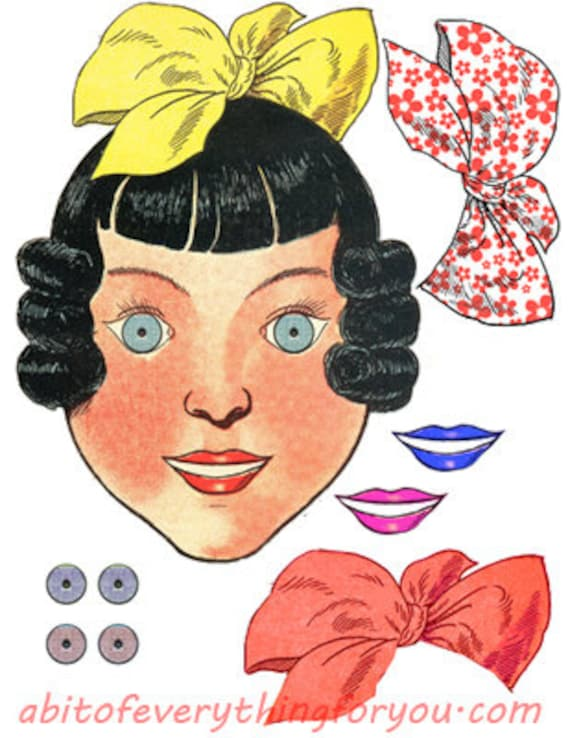 vintage paper doll face bows printable die cuts clipart digital download craft cut outs downloadable graphics images scrapbooking