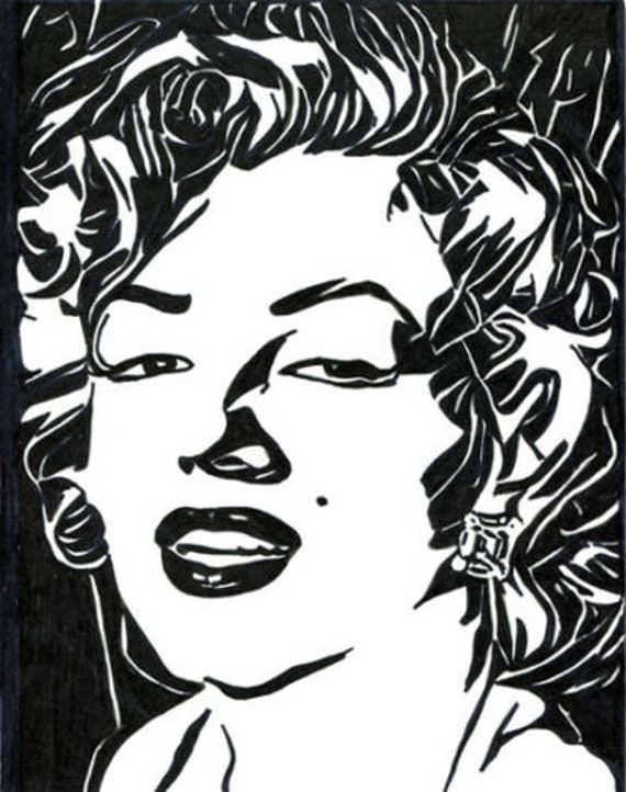 Marilyn Monroe face portrait abstract pen ink original art drawing black & white pinup girls artwork Elizavella