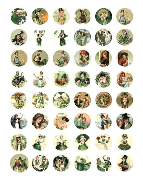 saint pattys day st patricks day irish clipart digital download collage sheet 1 inch circles vintage graphics images printables pendants
